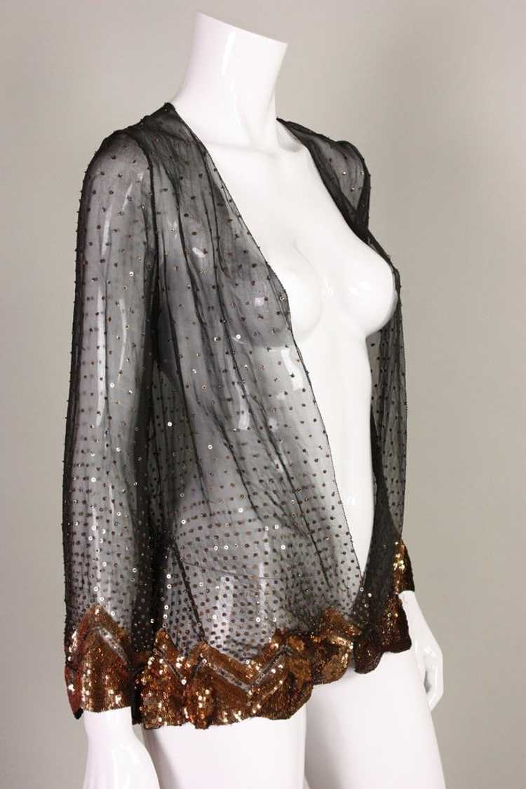 1930's Jacket Sequined Silk Chiffon Vintage - image 3