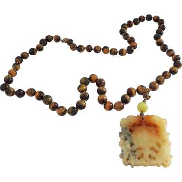 Tiger Eye Beads with Large Hardstone Carved Pendan