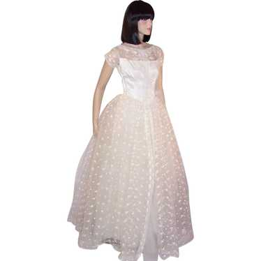 1950's White Lace and Embroidered Tulle Floor Leng