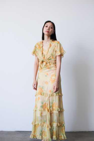1930s Chiffon Silk Yellow Floral Dress w/ Bolero - image 1