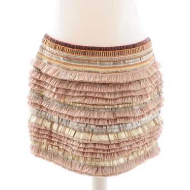 Matthew Williamson Pink / beige raffia skirt