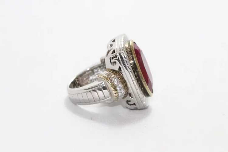Sterling Silver Two Tone Ruby Ring - image 4