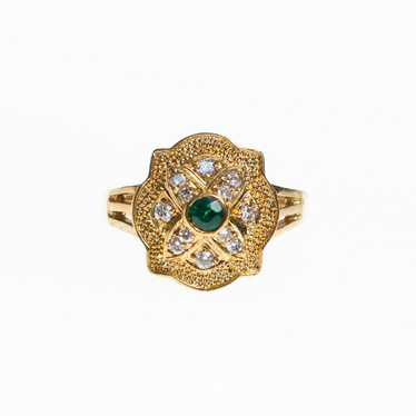 Art Deco Emerald and Diamante Crystal Ring with Mi