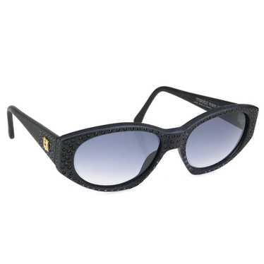 Vintage KHANH 80s Black Rhinestone Sunglasses