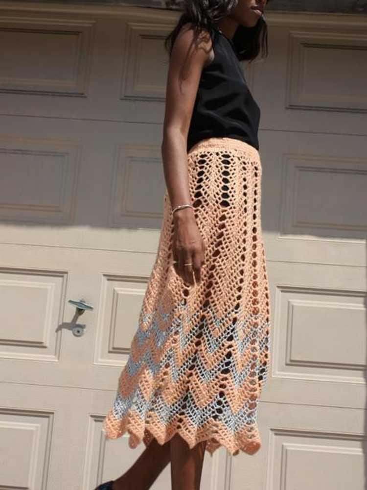 Metallic Crochet Skirt - image 2