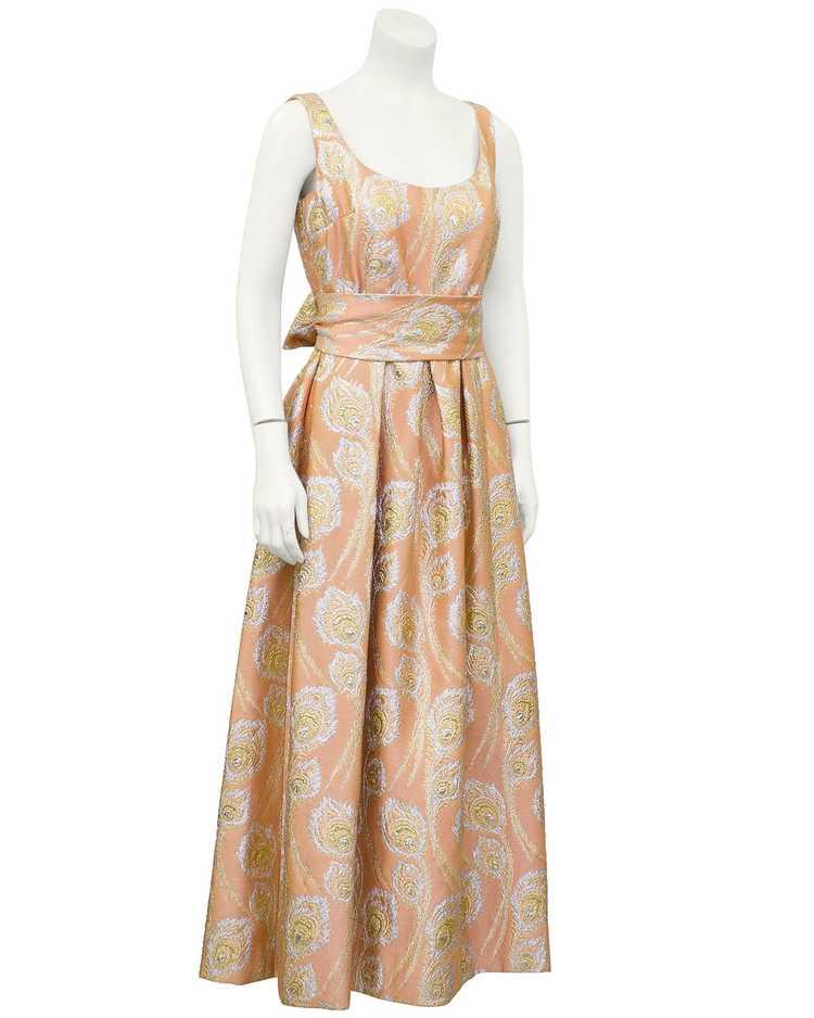 Ceil Chapman Pink and Metallic Brocade Gown - image 1