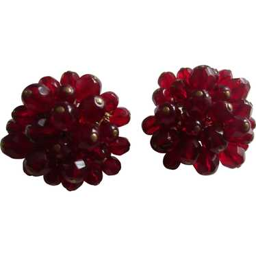 Deep Red Wired Glass Bead Cluster Earrings