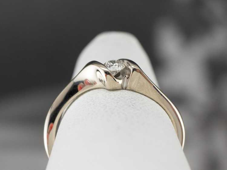 Diamond White Gold Solitaire Ring - image 8