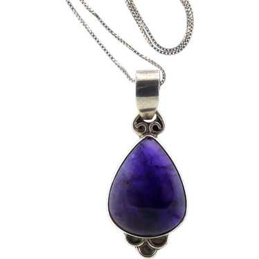 Deep Purple Amethyst and Sterling Pendant