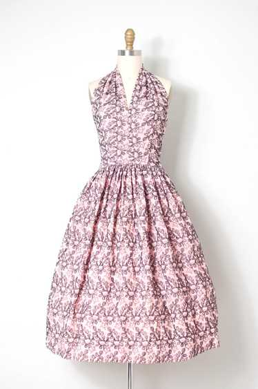 1950s Embroidered Pink Halter Dress | XS