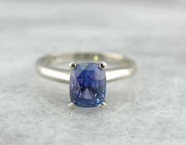 Indigo Sapphire in Simple Solitaire Engagement Rin