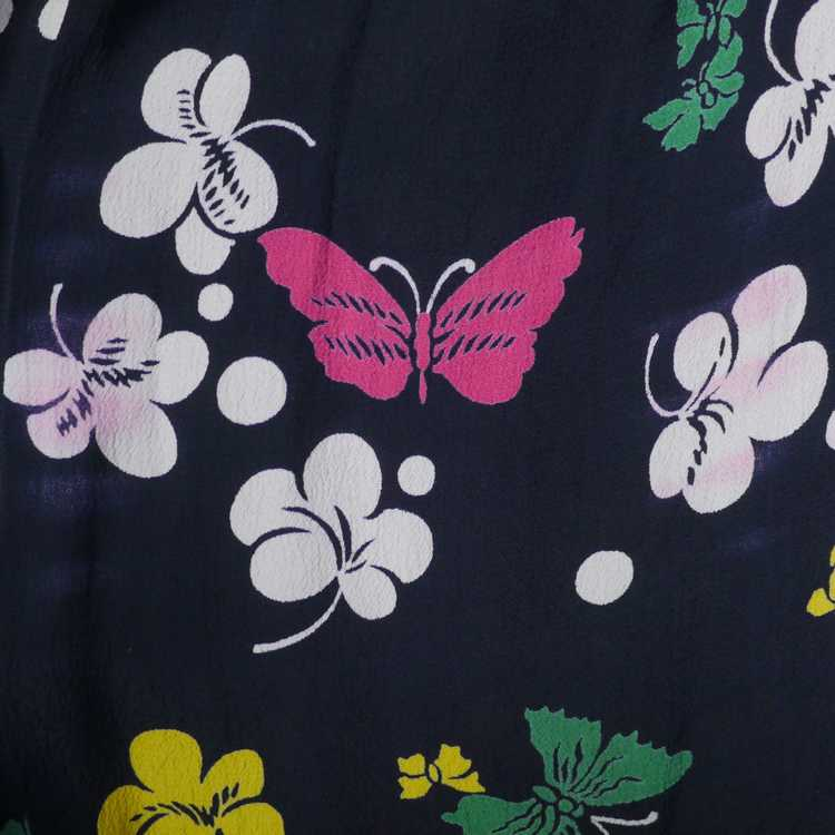 40s BUTTERFLY PRINT RAYON DRESS WITH PEPLUM AND K… - image 14