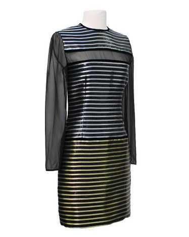 Galanos Black Dress with Metallic Stripe & Sheer P