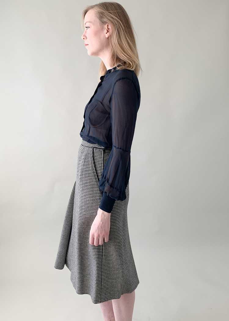 Vintage 1970s Yves Saint Laurent Houndstooth Skirt - image 4