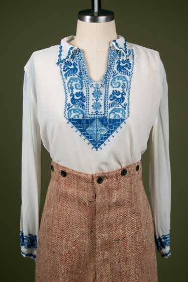 Vintage 1930's Embroidered Peasant Blouse - image 1