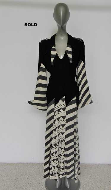 Ossie Clarck maxi dress abstract print by Celia Bi