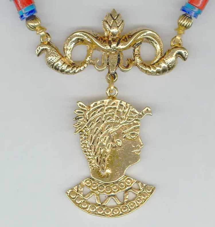 """Signed """"ART"""" Egyptian Revival Necklace - image 2"""