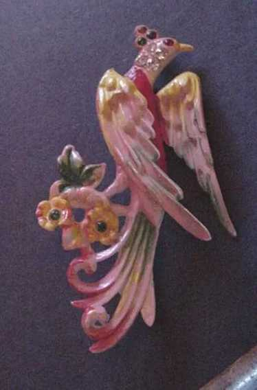 Celluloid and Rhinestone Bird of Paradise Pin