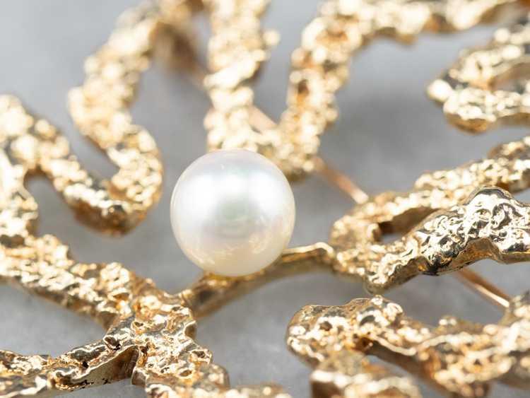 Vintage Gold and Pearl Maple Leaf Brooch - image 8