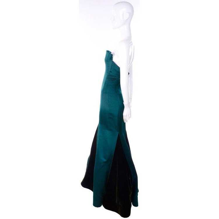 Arnold Scaasi Strapless Green Evening Gown W/ Vel… - image 3