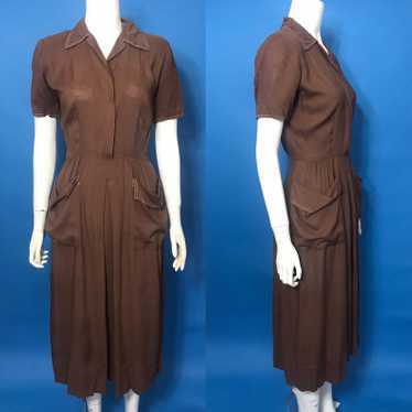 Brown 1940s day dress