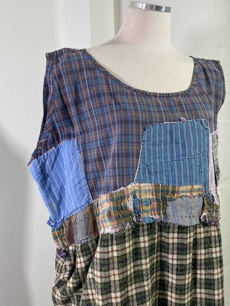 1960s-70s French Patchwork Peasant Dress - Lg. - image 4