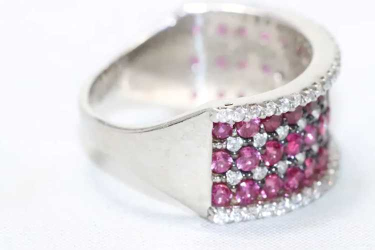 Sterling Silver Ruby Cubic Zirconia Ring - image 2