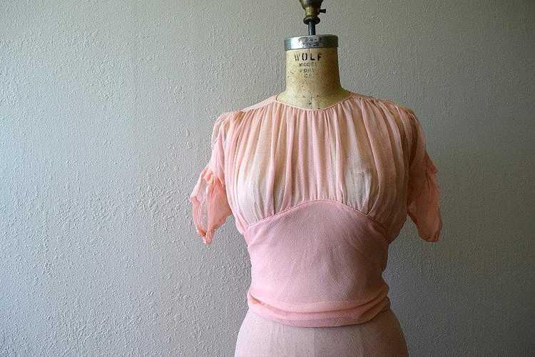 Vintage 1930s dress . 30s silk chiffon dress - image 2