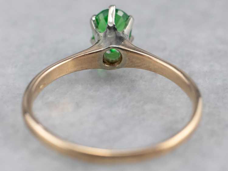 Tsavorite Garnet Gold Solitaire Ring - image 5