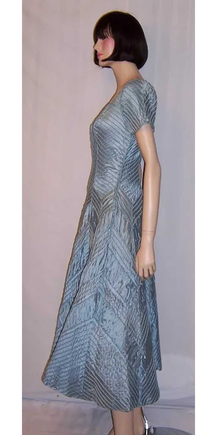 Ceil Chapman 1950's Ice Blue Pintucked Gown - image 4
