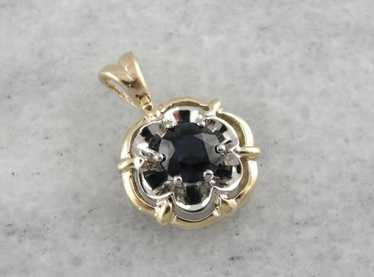 September Sweetheart, Sapphire Pendant in Two Tone