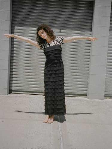 Tiered Silk Chiffon Dress