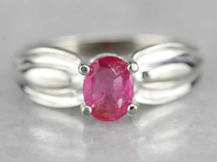 Ruby Solitaire Ring in Sterling Silver - image 1