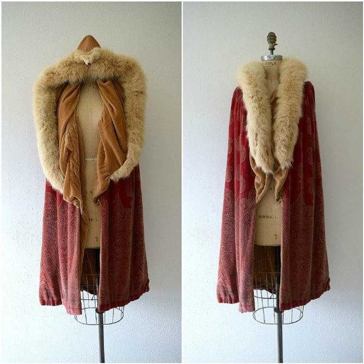 1920s silk velvet cape . vintage 20s stenciled ve… - image 4