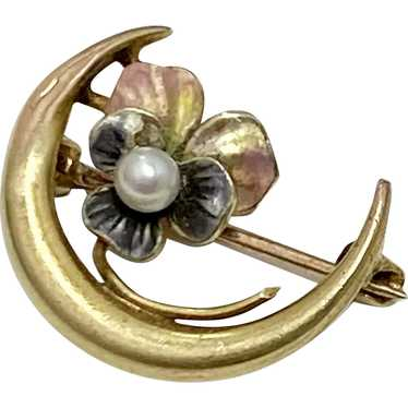 Victorian Crescent Moon & Pansy Pin 10K Gold, See… - image 1