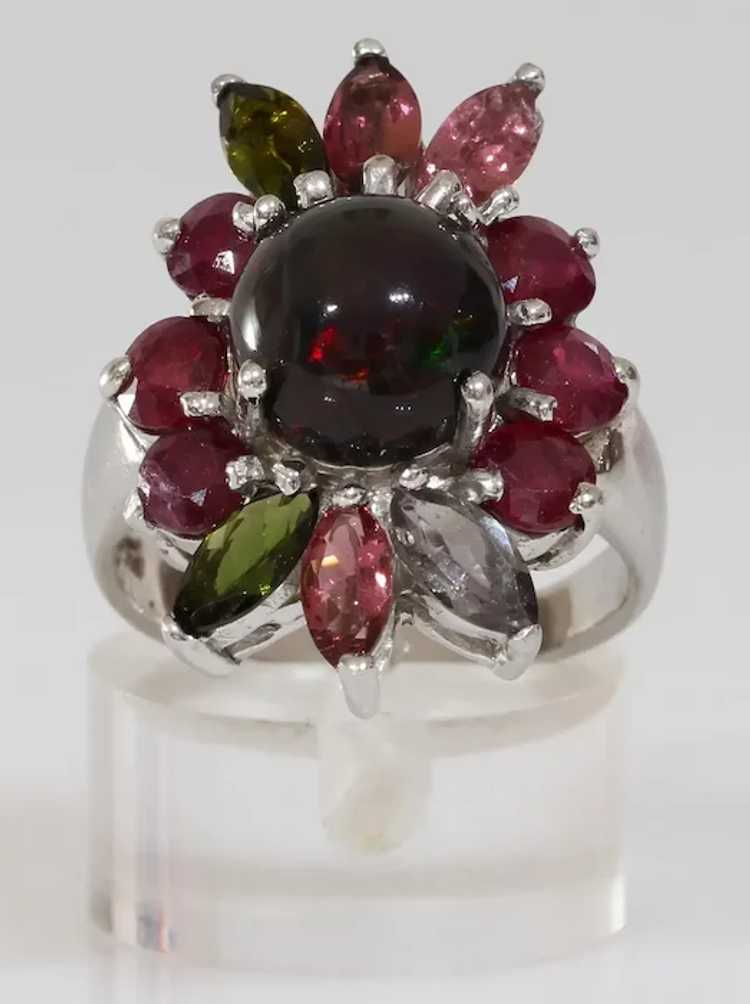 Opal Ruby Cocktail Ring | Tourmaline Sterling Sil… - image 3