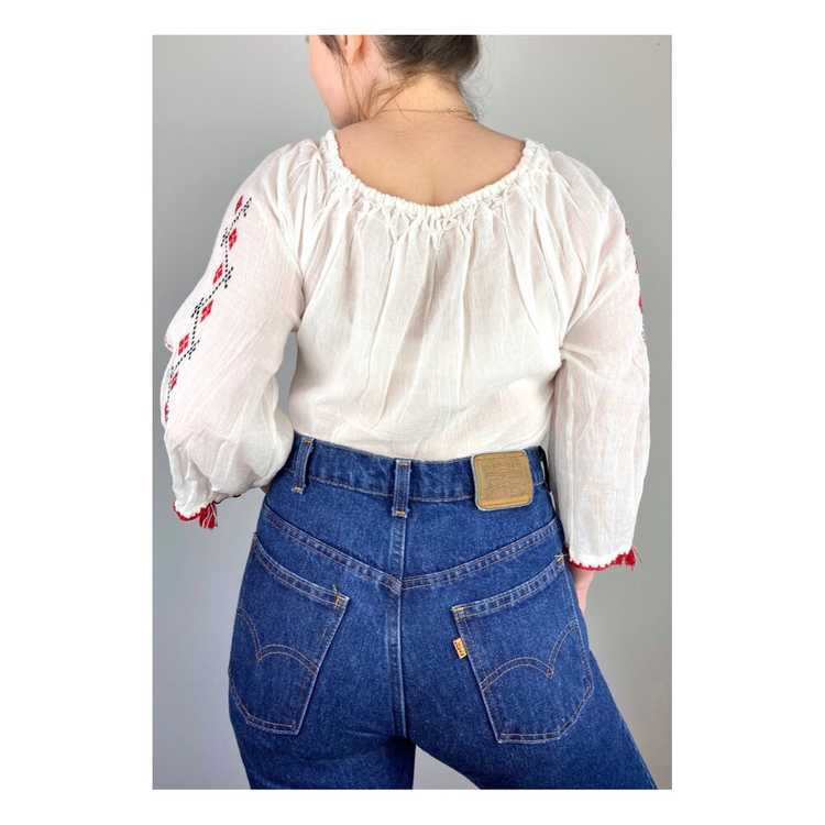 Hungarian Embroidered Vintage Blouse - image 7