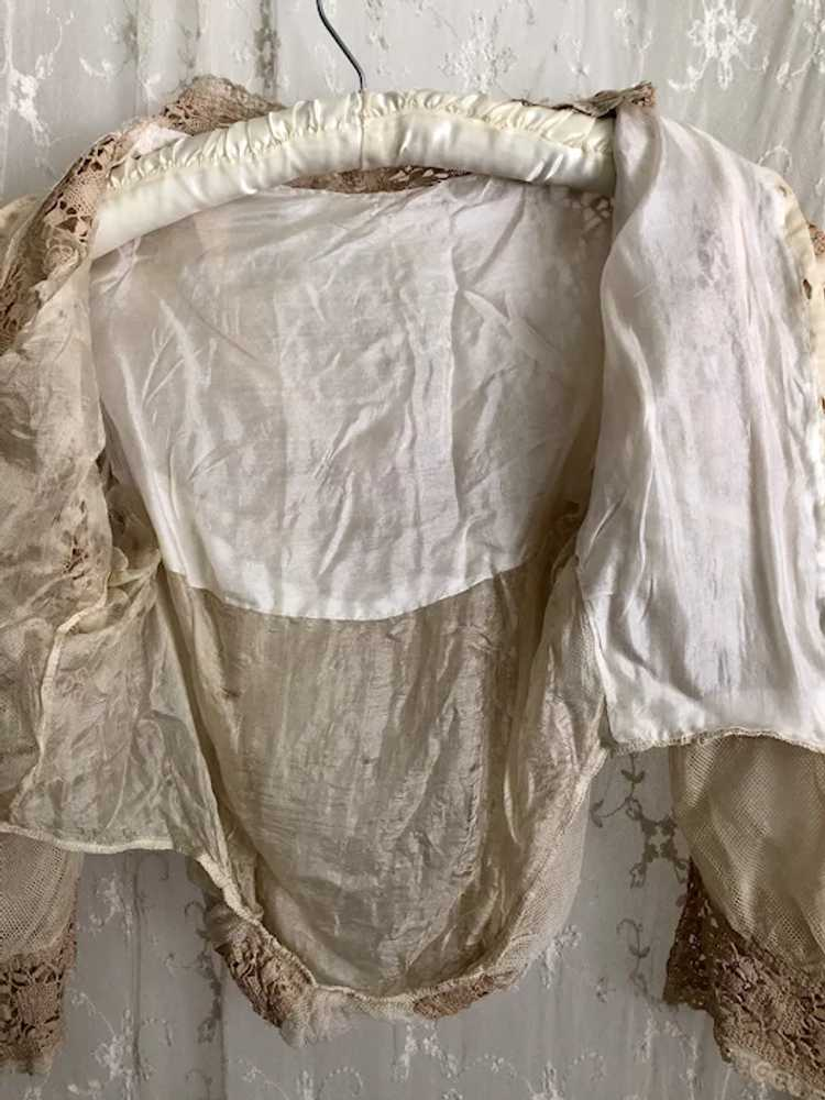 Antique 1890's Victorian Net Lace and Silk Bodice… - image 11
