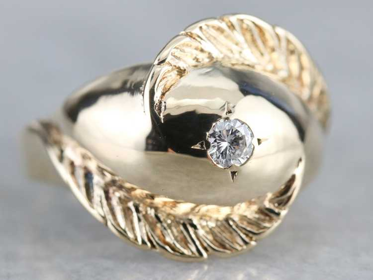 Diamond Solitaire Gold Feather Ring - image 2