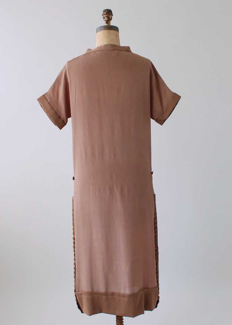 Vintage 1920s Brown Silk Day Dress with Duster Co… - image 10