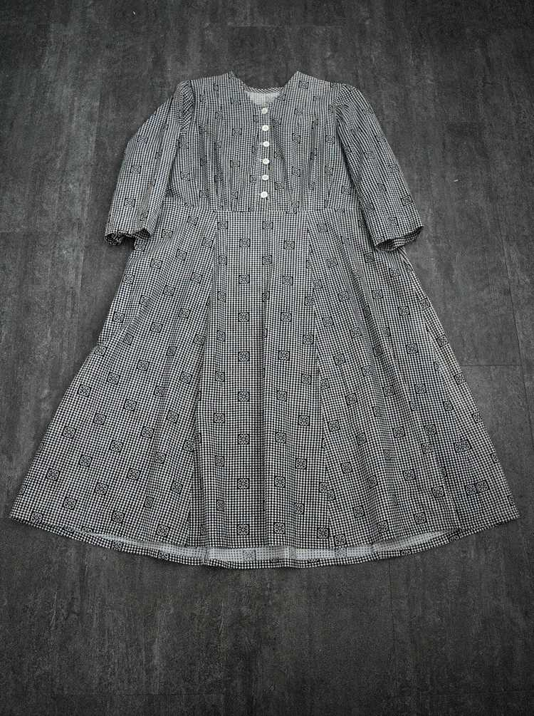 Antique calico dress . vintage gingham dress - image 4