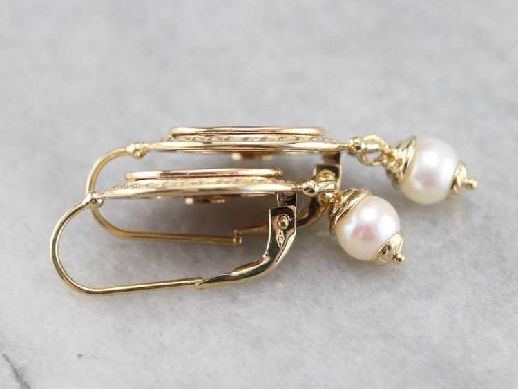 Vintage Yellow Gold and Pearl Drop Earrings - image 4