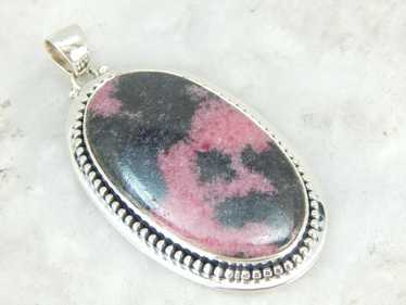 Large Rhodonite Sterling Silver Oval Pendant