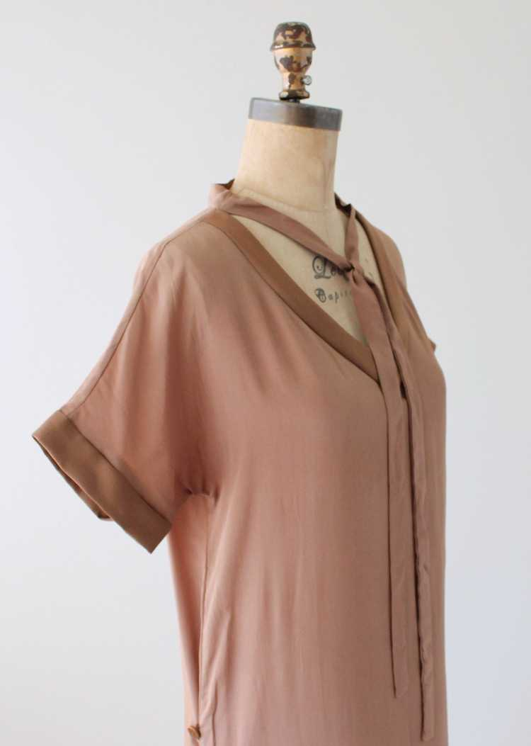 Vintage 1920s Brown Silk Day Dress with Duster Co… - image 3