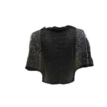 30s Black Chiffon Beaded Evening Capelet