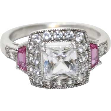 Sterling Silver Cubic Zirconia Ruby Ring - image 1