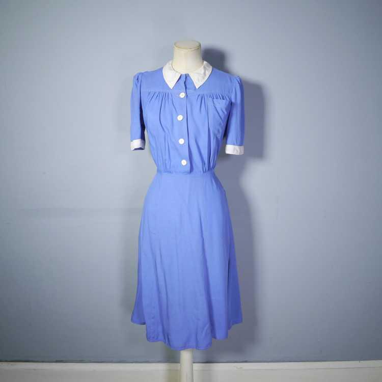 40s NURSE / ALICE style BLUE WHITE COLLARED SHIRT… - image 7