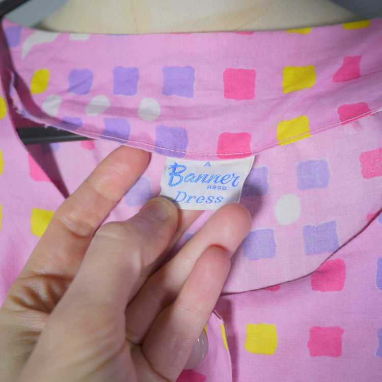 """50s 60s """"BANNER"""" PINK COTTON DAY DRESS WITH PASTE… - image 5"""