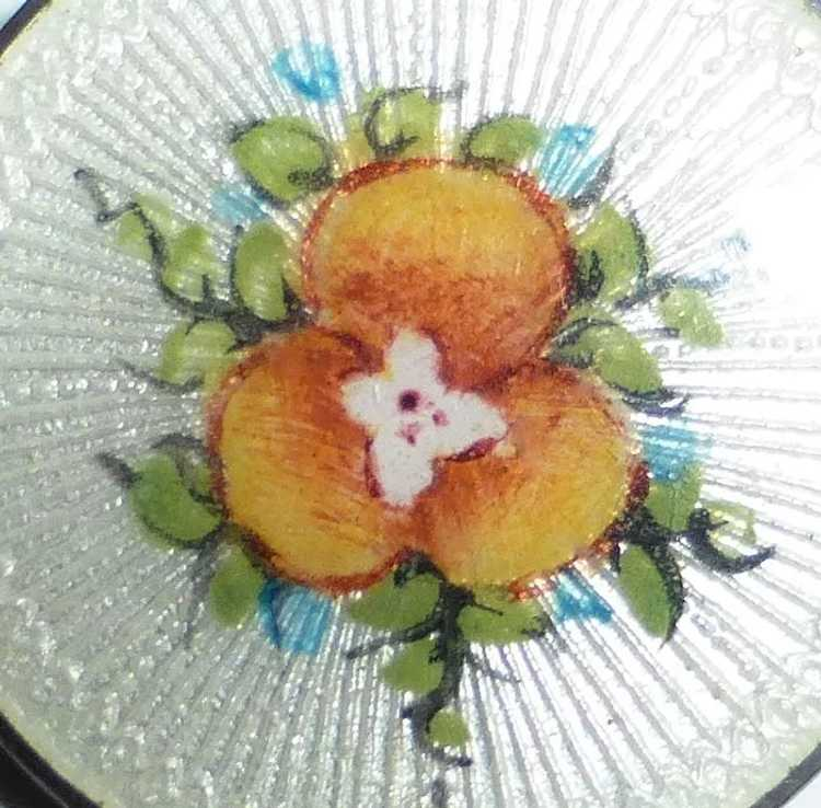 Vintage Sterling Guilloche Enamel Pansy Pin - image 2