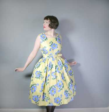 YELLOW AND BLUE FLORAL ST MICHEAL 50s FULL SKIRTED